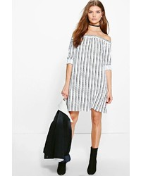 Boohoo Tall Lexie Striped Off The Shoulder Dress