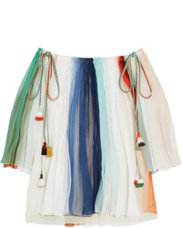 Chloé Off The Shoulder Striped Silk Georgette Top Mint