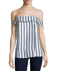 Off the shoulder striped silk top dual stripe medium 562900