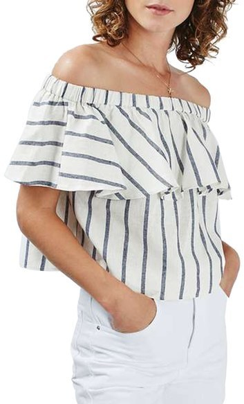 5aa85a42fec708 ... Vertical Striped Off Shoulder Tops Topshop Stripe Off The Shoulder Crop  Top ...