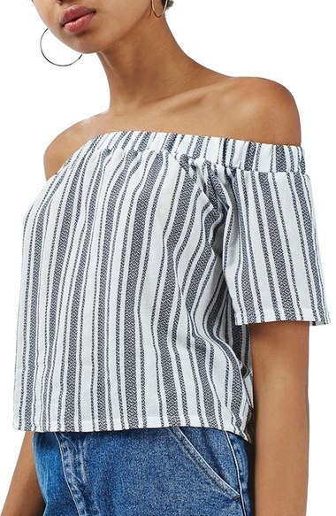 b50185d7682acc ... Topshop Stripe Off The Shoulder Top ...