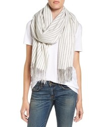 White Vertical Striped Scarf