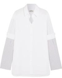 Maison Margiela Paneled Striped Cotton Poplin Shirt White
