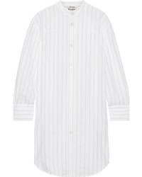 Acne Studios Diede Pinstriped Cotton Jacquard Shirt Dress White