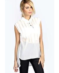 White Vertical Striped Short Sleeve Blouse