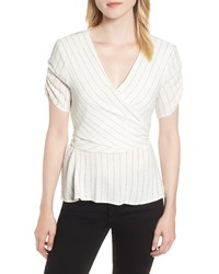 1 STATE Ticking Stripe Wrap Top
