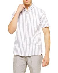 Topman Classic Fit Oxford Stripe Short Sleeve Shirt