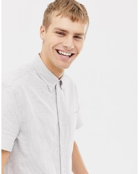 J.Crew Mercantile Short Sleeve Stripe Slim Fit Oxford Shirt In Blueburgundy