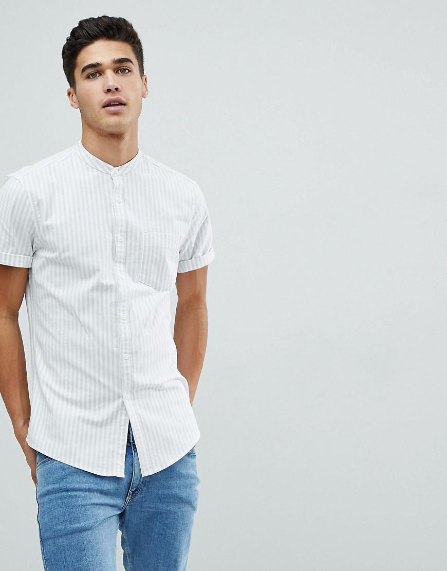 6cf155a72eab8 Stretch Slim Oxford Stripe Shirt In Bluewhite. White Vertical Striped Short  Sleeve Shirt by ASOS DESIGN