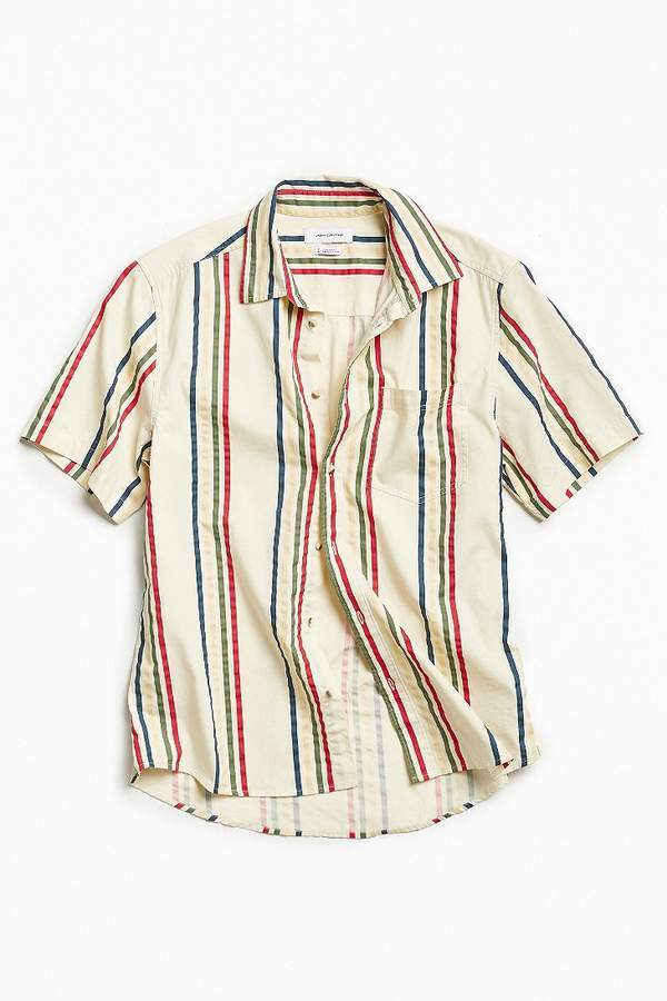 ff6c1e83 ... Urban Outfitters Uo 90s Vertical Stripe Short Sleeve Button Down Shirt  ...