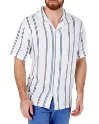 7 Diamonds Walk The Line Slim Fit Stripe Camp Shirt