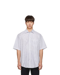 Balenciaga White And Navy Short Sleeve Shirt