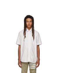Thom Browne White Striped Rwb Short Sleeve Shirt