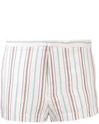 White Vertical Striped Shorts