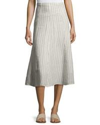 Theory Zimri Narrow Striped Linen Skirt White