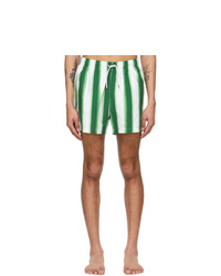 Dries Van Noten Green And White Len Lye Edition Graphic Swim Shorts
