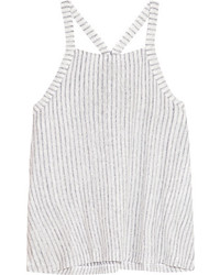 Splendid Striped Slub Linen And Cotton Blend Tank Off White