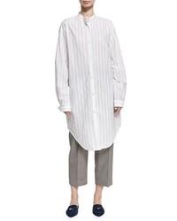 Acne Studios Deide Pinstripe Cotton Tunic Shirt White