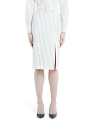 Sara Battaglia Pinstripe Wool Pencil Skirt