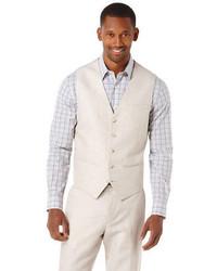 Perry ellis linen cotton herringbone suit vest medium 86547