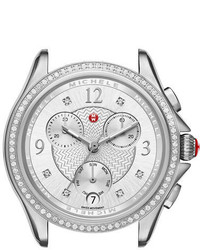 Michele 37mm Belmore Stainless Steel Chronograph Watch Head With Diamonds