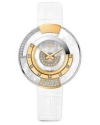 Fendi Delfina Delettrez X Policromia Diamond Mother Of Pearl Alligator Strap Watch