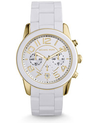 Michael Kors Michl Kors Mercer Golden Stainless Steel White Silicone Chronograph Watch