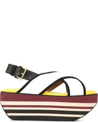 Marni Wedge In Techno Fabric Sandals