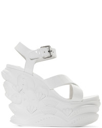 Miu Miu White Wave Wedge Sandals