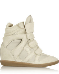 Isabel Marant Burt Leather And Suede Concealed Wedge Sneakers
