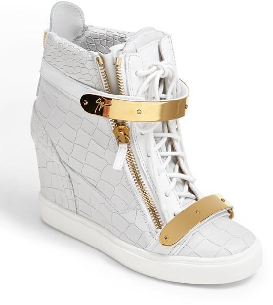 6b687000a53 ... White Wedge Sneakers Giuseppe Zanotti Lorenz High Top Wedge Sneaker ...