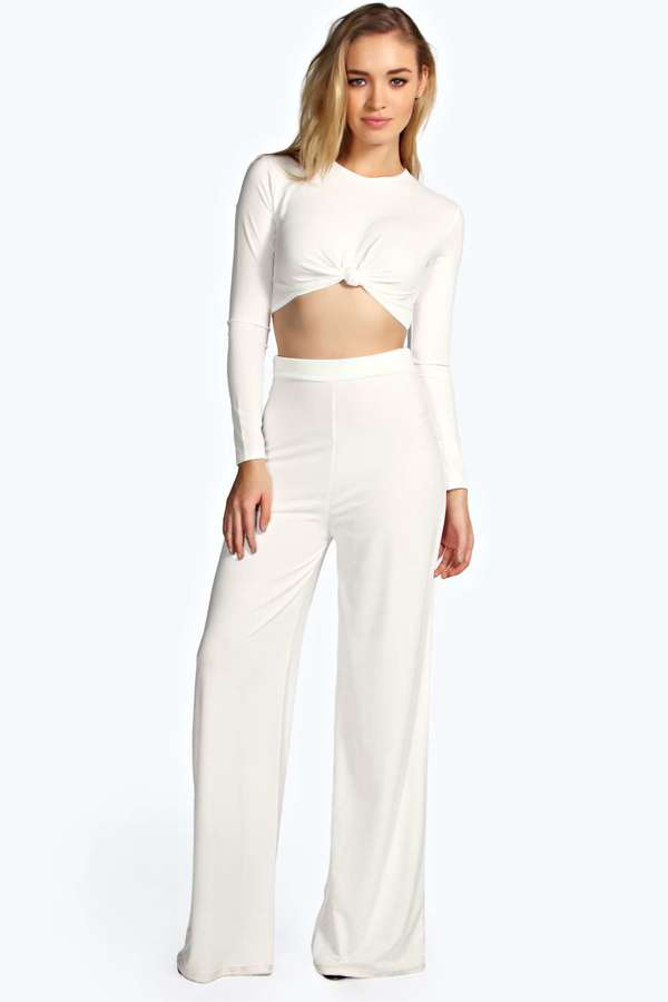 Boohoo Sally Slinky Wide Leg High Waisted Trousers | Where to buy ...