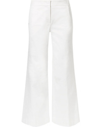 Derek Lam Cropped Stretch Cotton Blend Wide Leg Pants