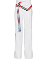Diane von Furstenberg Grosgrain Trimmed Stretch Linen Blend Wide Leg Pants Off White