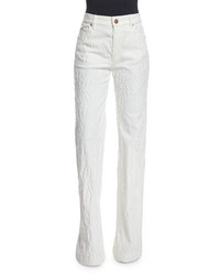 See by Chloe High Rise Distressed Wide Leg Trousers Off White