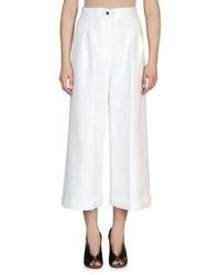 Fendi High Waist Wide Leg Cuffed Pants White