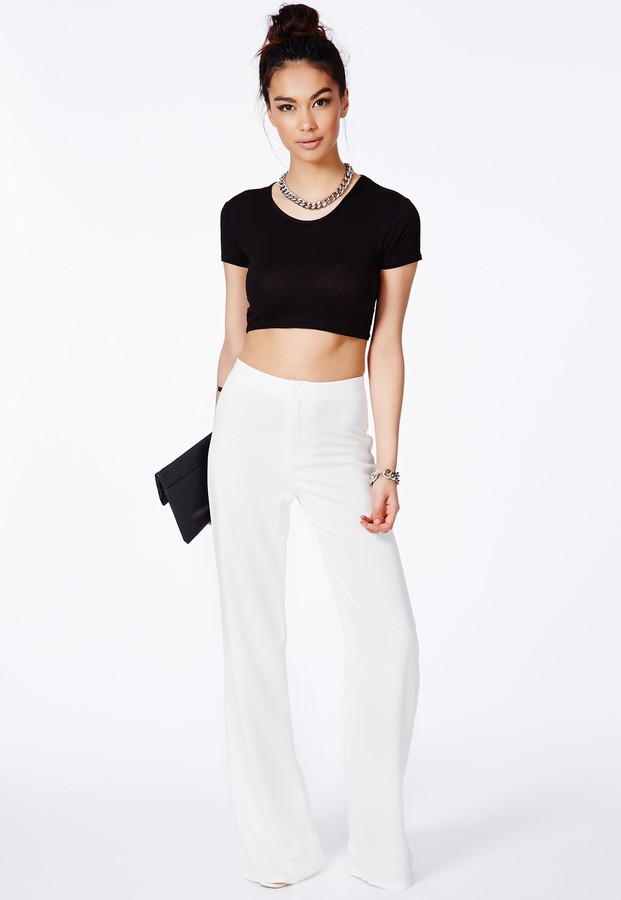 Missguided Megane White High Waisted Palazzo Trousers | Where to ...