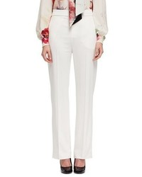 Lanvin Stretch Woven Wide Leg Pants Off White