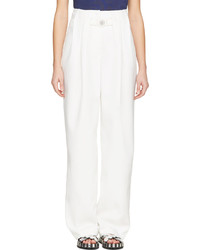 Kenzo White Crpe High Waisted Wide Leg Trousers