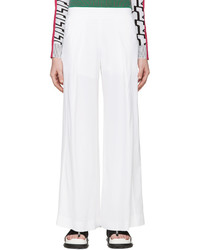 Kenzo White Wide Leg Flowing Trousers