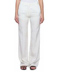 Victoria Beckham Wide Leg Floral Cloque Pants