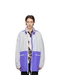 Maison Margiela White And Purple Nylon Sports Jacket