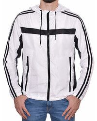 White Black Hooded Windbreaker