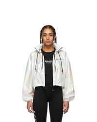 Kenzo White Iridescent Cropped Windbreaker Jacket