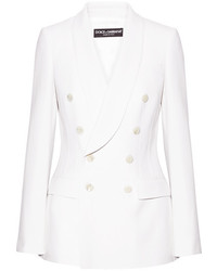Dolce & Gabbana Double Breasted Wool Crepe Blazer Off White