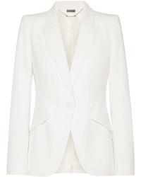 Alexander McQueen Grain De Poudre Wool Blazer Ivory