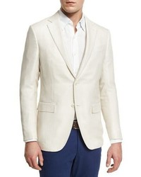 Ermenegildo Zegna Wool Two Button Sport Coat Ivory
