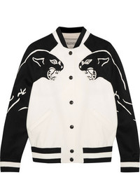 Valentino Appliqud Wool And Cashmere Blend Bomber Jacket Ivory