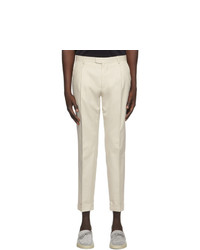 Z Zegna Off White One Pleat Trousers