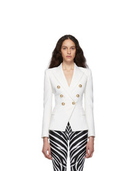 Balmain White Wool Double Breasted Blazer